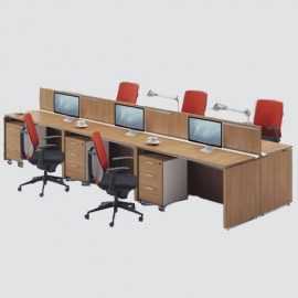 Newly Design Office Straight Shape Workstation/low Partition For Six Person