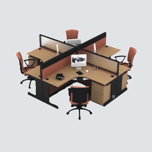 Our 4 man workstation furniture gives enough space to easily play out all the work duties with comfortable chairs