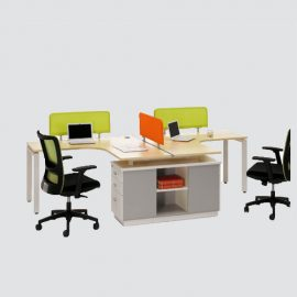 Two persons workstation with divider constructed of laminated wood with ms powder coating frame