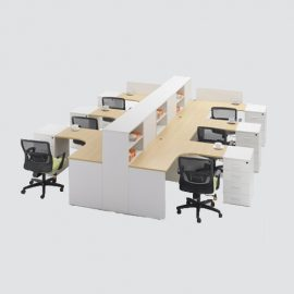 L shape Workstation made of lamination of approved color / shade, with matching PVC edging,workstation having provision for 04 drawers, having BSN finished Zinc handles.