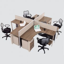 workstation for four persons made up of high quality MDF pressed with High Pressure Melamine surface