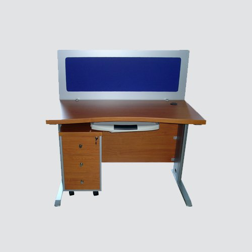 workstation for single person having soft board on front with three drawers having taiwan central locking system