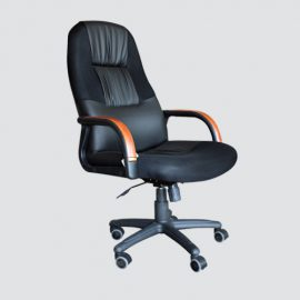 Custom-made leather office chair with wood arms and legs with wheels featuring intricate leather