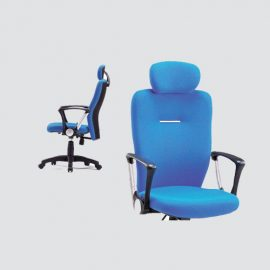 this rolling executive office chair is upholistered in soft blue fabric