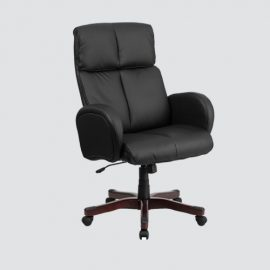 Black leather executive office chair,durable and stable and height adjustable.