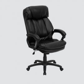 uniquely designed high back executive chair is styled for comfort with padded arm and thickly padded seat