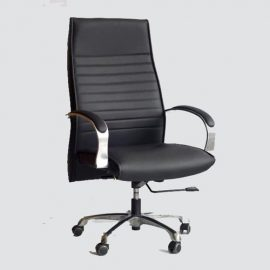 Executive chair with a lumbar support back and durable leather fabric seat and back. This officechair offers exceptional comfort and quality.