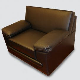 single seater sofa structure made of acacia wood & ply wood frame, upholstered in leatherette.