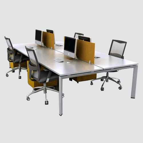 Combine Workstation, made of lamination of approved color , with matching PVC edging, top 32mm thick, base structure made of high quality MS powder coated