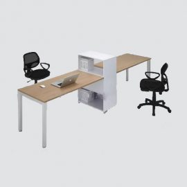 workcounter, for two persons with attached file rack.