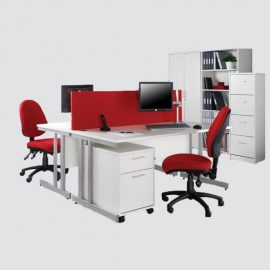 Workstation base structure made of MS powder coated frame, with front partition having soft board fabric.