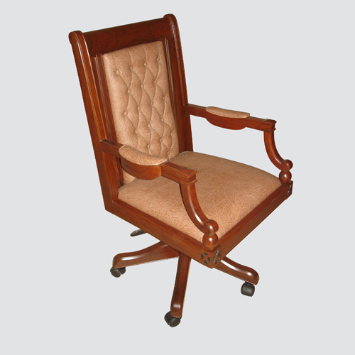 High back brown leather with wooden frame design is great for professional appearance in any office space