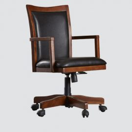 Best wood finish leather office chair with imported fitting tyres