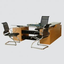 Executive Table with side rack having 12mm glass on top and side rack having drawer & keyboard tray, with chrome handles and imported channels