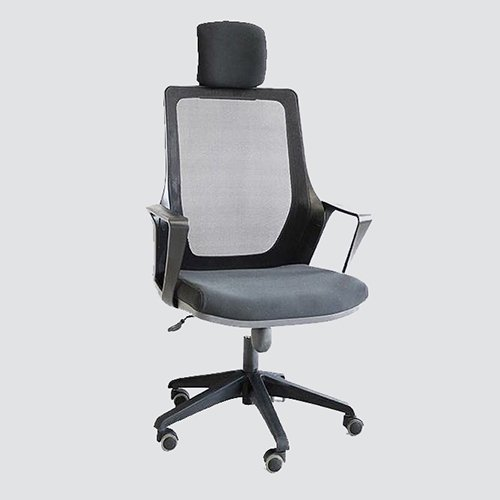 Ergonomic chair covered by breathable mesh fabric with high lumbar support and fixed headrest pillow protecting your spinal and neck.