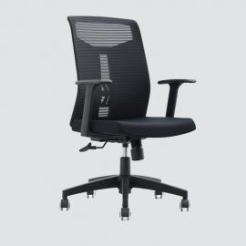 this office chair attractive and fashionable in black color that fits all your furniture this meshed office chair is an ideal seat with tilted arms and high-back for office tasks which provide support and relaxation in case of long use